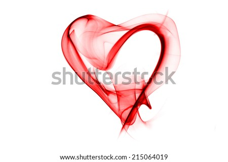 red smoke in heart pattern on white background - stock photo