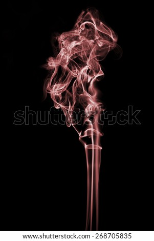 Red smoke on a white background - stock photo
