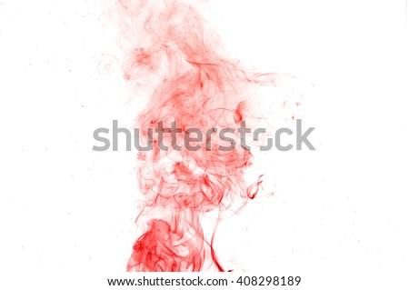 red smoke on a white background,Abstract red smoke swirls over white background, fire smoke,red ink,movement of red smoke