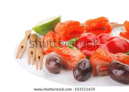 red smoked salmon slice served on white