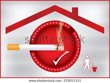 Red Smoking allowed sticker for print containing a realistic cigarette under a roof sign and a sign with a basket trash can for keeping the environment clean; metallic background. Print colors used - stock photo