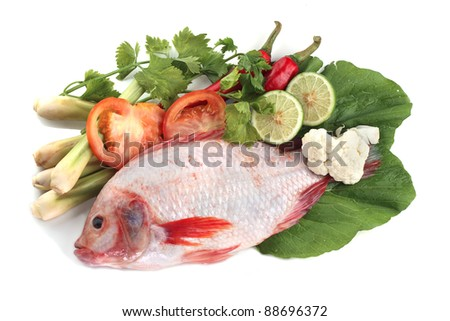 Red snapper fish with tomatoes, key lime, chilies, lemongrass, salad and ice. - stock photo