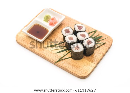 red snapper maki sushi- japanese food style on white background