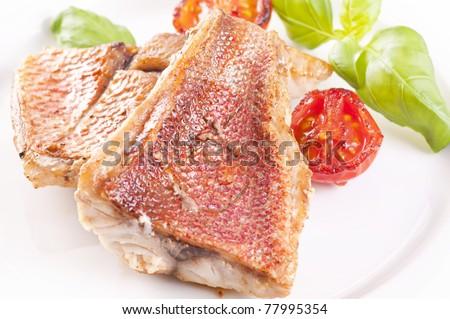 Red snapper steak - stock photo