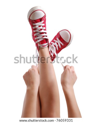 Red Sneakers - stock photo