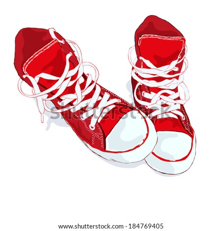 Red sneakers on white background. Raster version