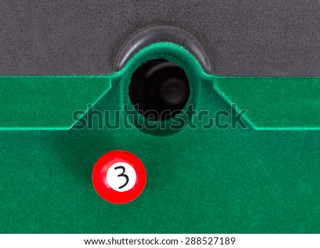 Red snooker ball is going to fall - number 3