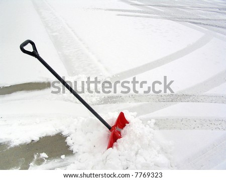 Red Snow Shovel - stock photo