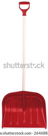 red snow spade isolated on white background in studio - stock photo