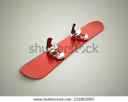 Red snowboard - stock photo