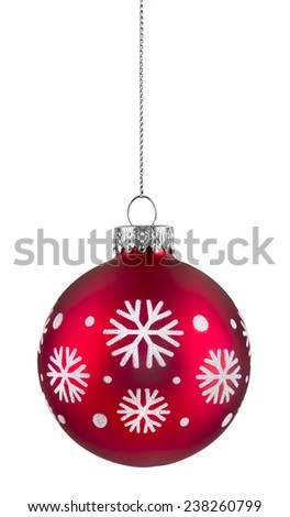 Red snowflake christmas ball hanging on string, isolated on white - stock photo