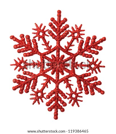 Red snowflake on a white background - stock photo