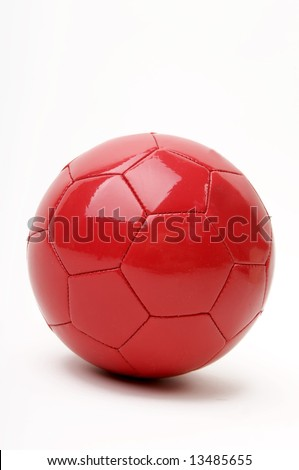 Red soccer ball isolated on white - stock photo