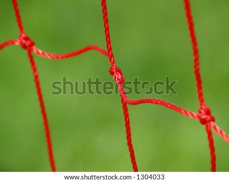 red soccer goal net
