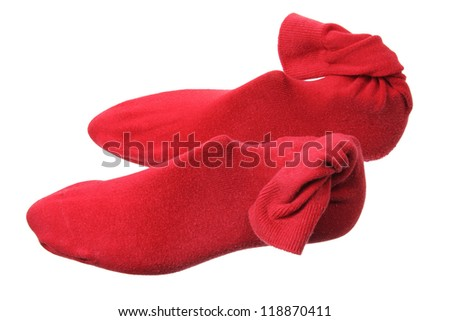 Red Socks on White Background - stock photo