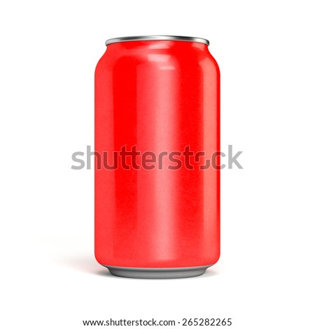 Red soda can metal aluminum. Isolated on white