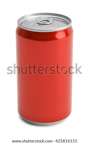 Red Soda Can With Copy Space Isolated on White Background.