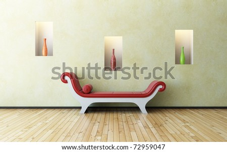 red sofa and vases - stock photo