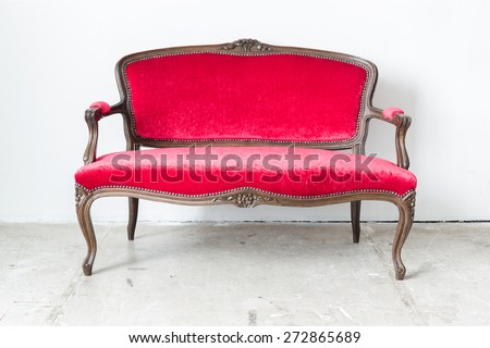 Red sofa Contemporary style in vintage room - stock photo