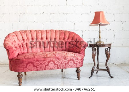 Red Sofa Couch Vintage Room Lamp Stock Photo 348746261 - Shutterstock