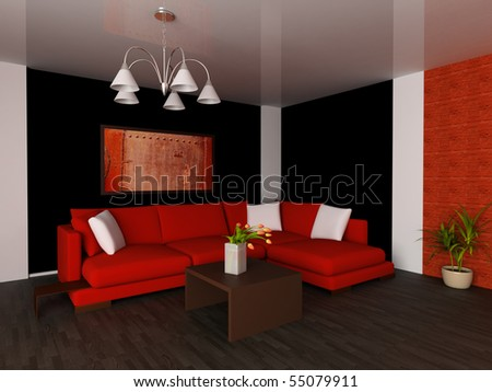 Red sofa in a drawing room 3d image