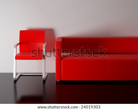 Red sofa in a room. High resolution image interior. 3d illustration modern interior.