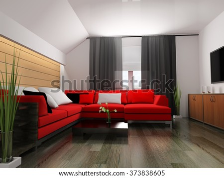 red sofa in modern interior, 3d rendering
