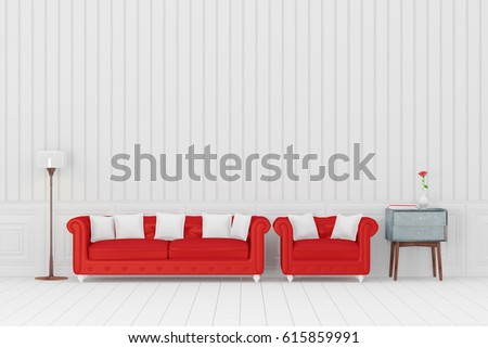 Red Sofa In The White Living Room, 3D Rendering Part 79