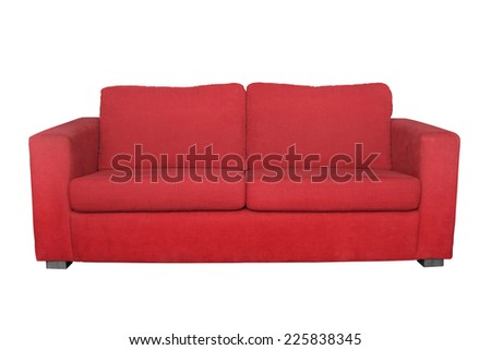 red sofa isolated - stock photo