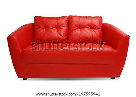 Red Sofa isolated on white background with clipping path  - stock photo