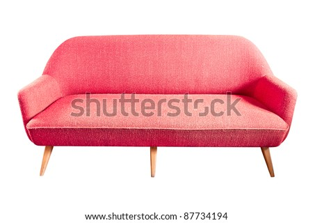red sofa isolated with clipping path - stock photo