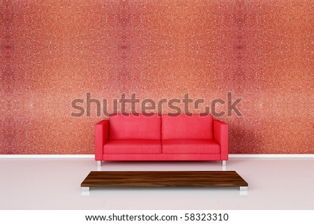 Red sofa on red stone wall with a empty table