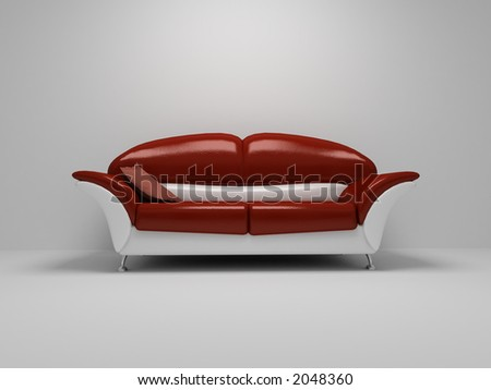 Red sofa on white background - stock photo