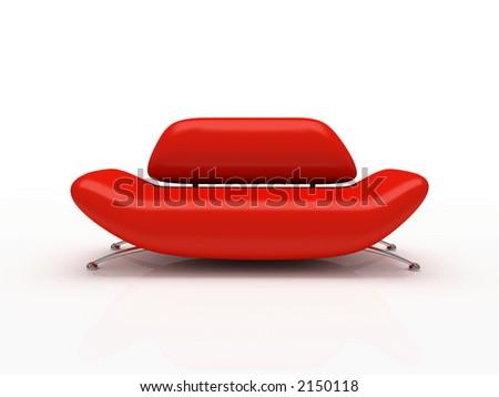 Red sofa on white background - stock photo