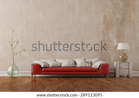 Red sofa standing in living room in front of an empty wall (3D Rendering) - stock photo