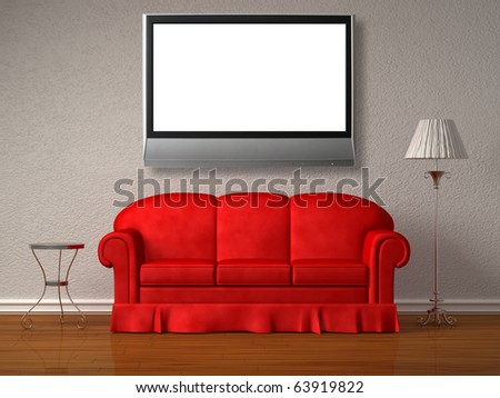 Red sofa, table and stand lamp with the lcd tv in white minimalist interior - stock photo