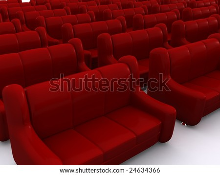 red sofas. 3d
