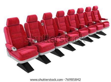 red soft chairs, standing in a row, isolated on white - stock photo