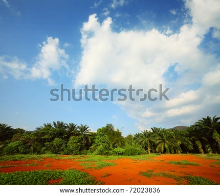 Red soil, green trees and blue sky with clouds