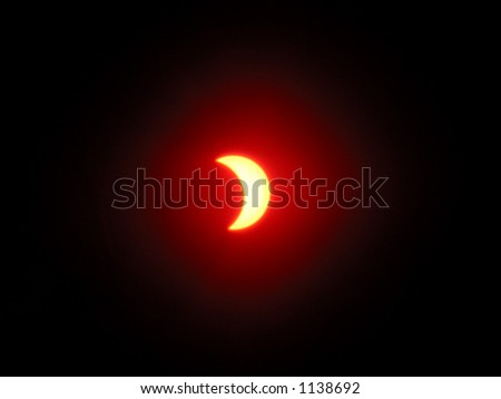 Red solar eclipse, abstract light effect