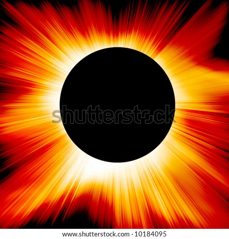 Red solar eclipse in outer space - stock photo