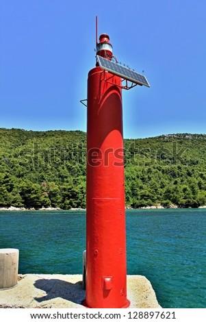 red solar light - stock photo