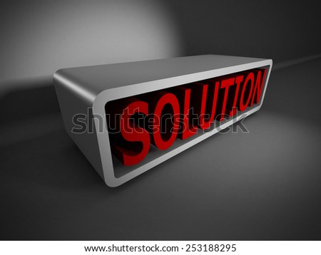 red SOLUTION 3d word on dark background. Business concept 3d render illustration - stock photo