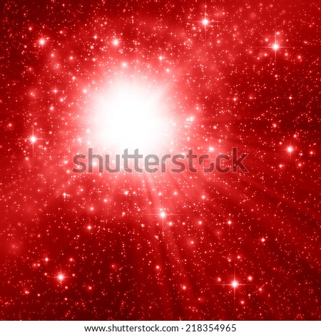 Red space and star background  - stock photo
