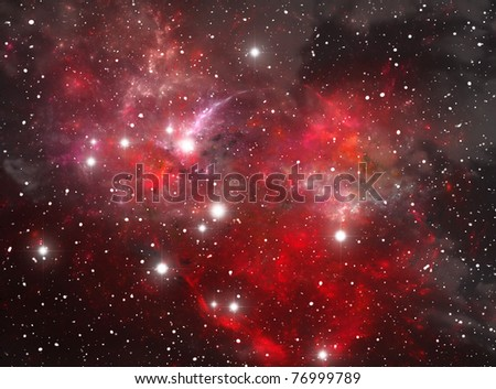Red space star nebula - stock photo