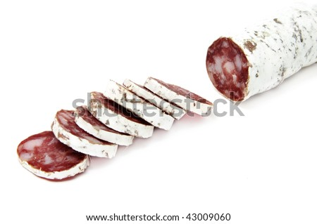red spanish salami on a white background - stock photo