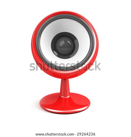 red speaker on pedestal over white