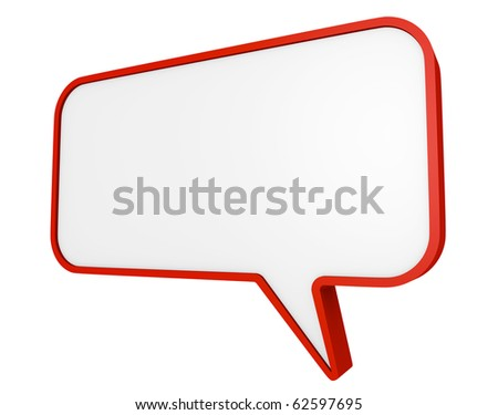 Red speech bubble. 3D render. - stock photo