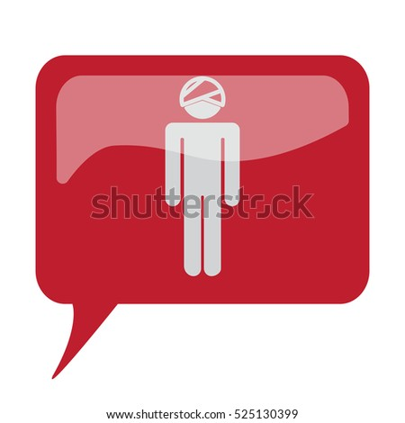 Red speech bubble with white Head icon on white background