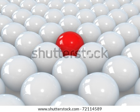 Red sphere among white spheres, standing out in the crowd concept